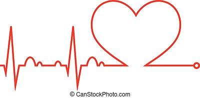 hart, beat., cardiogram., hart, cycle., medisch, icon.