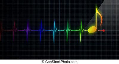 hart beeldscherm, met, kleurrijke, muzieknota