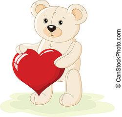hart, beer, rood, teddy