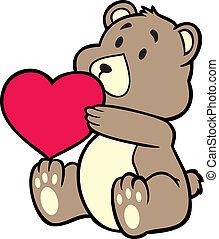 hart, beer, vasthouden, teddy