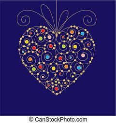 hart, begroetende kaart