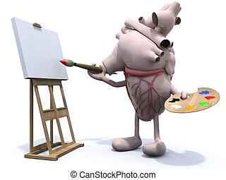 hart, benen, schilder, armen, menselijk