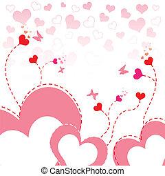 hart, bloem, ontwerp, achtergrond