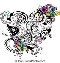 hart, bloem, ontwerp, spiraal, bloeien