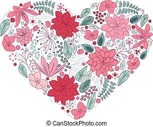 hart, bloemen, floral, gemaakt, witte