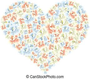 hart, bloemen, gemaakt