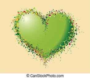 hart, bloemen, groene, gemaakt