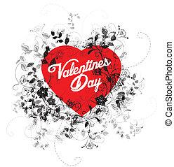hart, bloemen, valentines