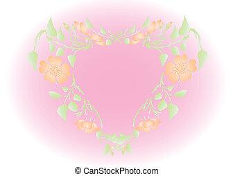 hart, bloemen, vector, achtergrond, vorm