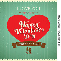 hart, boodschap, dag, rood, valentine