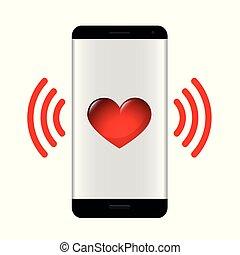 hart, boodschap, smartphone, liefde, rood