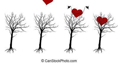hart, boompje, vogels, beer