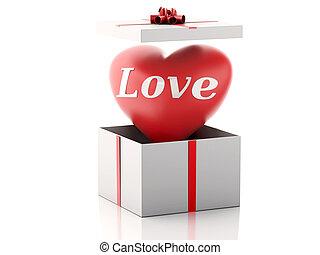 hart, box., cadeau, concept., valentines dag, rood, 3d
