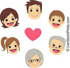 hart, cirkel, gelukkige familie, gezichten