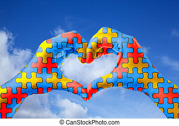 hart, concept, geestelijk, model, raadsel, jigsaw, dag, vorm, gezondheid bewustzijn, wereld, autisme, hands., care