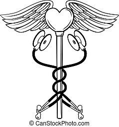 hart, concept, medisch, stethoscope, caduceus, pictogram