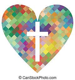 hart, concept, poster, abstract, kruis, illustratie, christendom, religie, vector, achtergrond, mozaïek