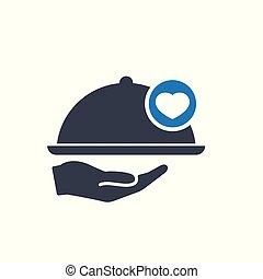hart, concept, restaurant, liefde, teken., hand, favoriet, pictogram, zoals, pictogram, blad, symbool, care