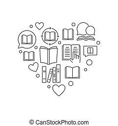 hart, concept, schets, illustratie, vector, boekjes , lezende