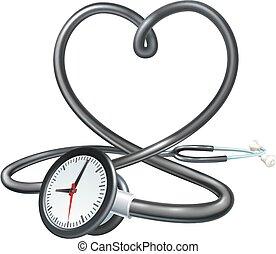 hart, concept, stethoscope, klok