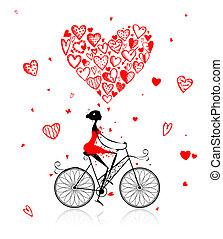 hart, cycling, groot, valentijn, meisje, dag, rood