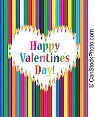 hart, dag, kaart, valentine