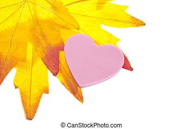 hart, dalingsblad, achtergrond, vibrant