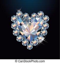 hart, diamant, kaart, groet, illustratie, vector