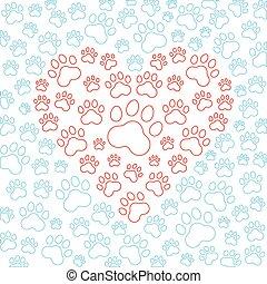 hart, dog, kat, achtergrond., vector, poten, of