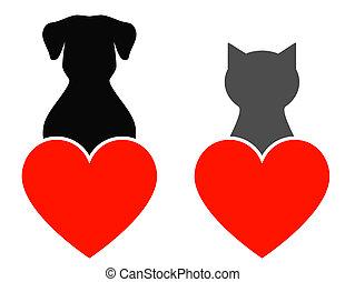 hart, dog, kat
