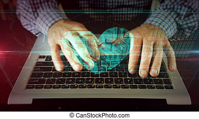 hart, draagbare computer, cyber, schrijvende , toetsenbord, man