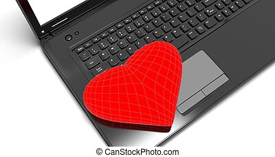 hart, draagbare computer, rood