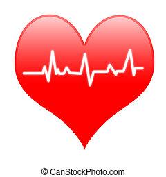 hart, electro, middelen, slaan, hartslag, innige, of,...