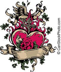 hart, embleem, roos, zich verbeelden, ouderwetse