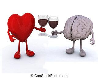 hart, en, hersenen, met, glas van rode wijn