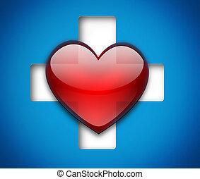 hart, en, kruis