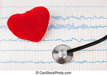 hart, en, stethoscope, op, ecg