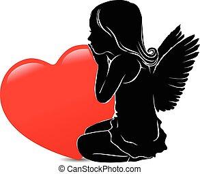 hart, engel, groot, verdrietige , meisje, rood