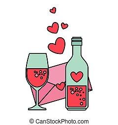 hart, enveloppe, fles