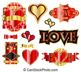 hart, etiketten, liefde