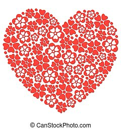 hart, flowers., gemaakt, rood