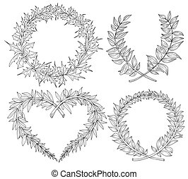 hart, formaat, ruimte, text., verzameling, hand, vector, laurier, kransen, getrokken