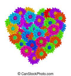 hart, forme, bouquet floral