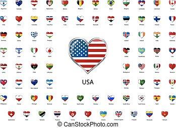 hart formeerde, glanzend, iconen, vlaggen, van, wereld, hoogst, staten