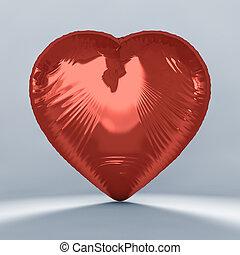 hart formeerde, rood, balloon., 3d.