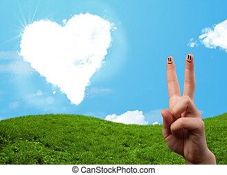 hart formeerde, smiley, vingers, het kijken, wolk, vrolijke