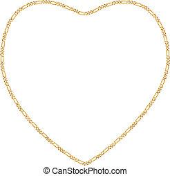hart, frame, gouden ketting