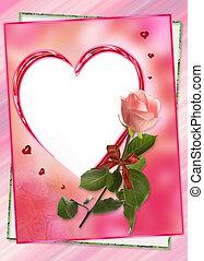 hart, frame, met, roos, bloem, collage