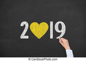 hart gedaante, 2019, chalkboard, achtergrond, jaar, nieuw
