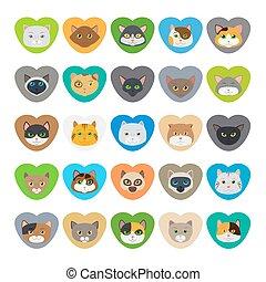 hart gedaante, kat, gezichten, schattig